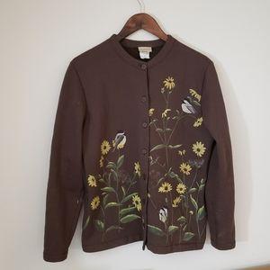 Artisans Vintage Chickadee and Daisy Sweatshirt Jacket Brown Size Medium